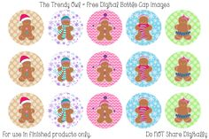 Winter Gingerbread Girls <3 FREE Digital Bottle Cap Images!! https://www.facebook.com/thetrendyowlUS http://www.thetrendyowl.com