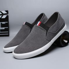 washed canvas slip-on sneaker Casual Slip On Shoes, Mens Slip On Shoes, Slip On Sneakers, Mens Fashion Shoes, Sneakers Fashion, Henleys, Biker Boots, Swagg, Comfortable Shoes