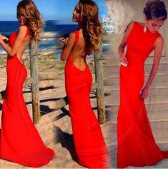 red prom dress, long prom dress, chiffon prom dress, sexy prom dress, backless…