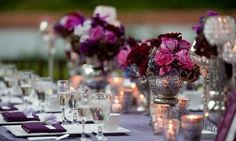 Multiple shades of PURPLE & SILVER ...  such ROMANTIC wedding table decor!