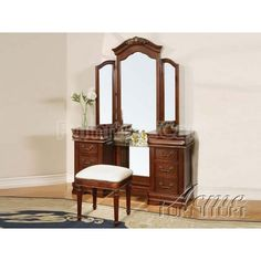 3 pc Classique collection cherry brown finish wood make up vanity dressing table set with tri-fold mirror. This set includes the Vanity table set with center glass shelf and accented beaded trim, the Tri-fold mirror with crown top, and fabric upholstered Bedroom Vanity Set, Vanity Table Set, Makeup Table Vanity, Vanity Set With Mirror, Glass Vanity, Wood Vanity, Bedroom Vanities, Master Bedroom, Makeup Tables