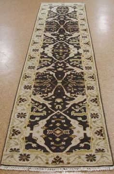 "2'7"" x 11'10"" OUSHAK Style Hand Knotted Wool BROWN GREEN New RUNNER Oriental Rug"