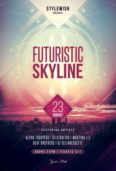 Buy Futuristic Skyline Flyer by styleWish on GraphicRiver. Futuristic Skyline Flyer Template This flyer template is designed with the city as main inspiration. Flyer Design, Flyer And Poster Design, Futuristisches Design, Poster Layout, Brochure Design, Layout Design, Print Design, Club Design, Poster Designs