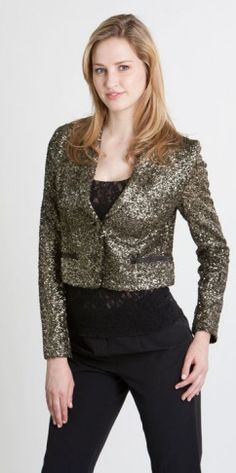 This sparkly jacket is the perfect accessory for a festive holiday season