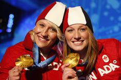Kaillie Humphries and Heather Moyse. Two time gold medalists in Bobsleigh. Team Canada Kaillie Humphries and Heather Moyse. Two time gold medalists in Bobsleigh. Olympic Hockey, Olympic Team, Olympic Champion, Kaillie Humphries, Bobsleigh, O Canada, Summer Olympics, Thinspiration, Olympians