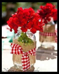 mason jars centerpieces | Faulkner's Ranch: Picnic Tips: Creative Picnic Ideas