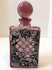Vintage Embossed Amethyst/Silver Perfume Bottle