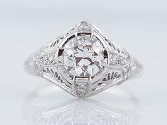 Filigree Jewelers :: Original Antique Art Deco 1.12cttw Old European Cut Diamond Engagement Ring in Platinum