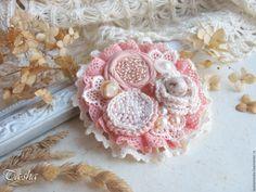 "Купить ""Персиковая нуга"" брошь бохо цветок коралловый розовый - брошь цветок, брошь boho chic boho jewelry boho brooch brooch textile"