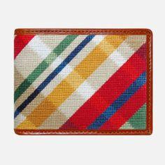 Smathers & Branson Madras Needlepoint Bifold Wallet