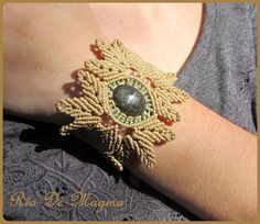 Beige. Macrame with gemstone. Mexican Manto Huichol by RioDeMagma