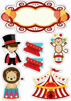 Circus for Babies Free Printable Cake Toppers. - Oh My Baby! Carnival Themed Party, Carnival Themes, Circus Party, Party Themes, 14th Birthday, Carnival Birthday, Birthday Parties, Decoration Cirque, Baby Disney