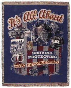 "It is all About Law Enforcement Police Tapestry Throw Blanket 50"" x 60"" USA Made … - With Love Home Decor"