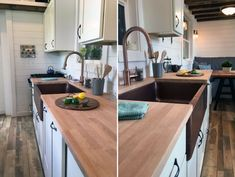 Rocky Mountain Tiny House by Tiny Heirloom 006 - Nice farm sink and high faucet, beam look, spices on wall