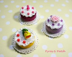 Set di 3 magneti torte cibo amigurumi crochet con di PyrosePatch