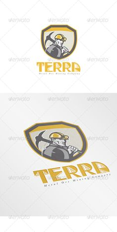 Buy Terra Metal Ore Logo by patrimonio on GraphicRiver. Logo showing illustration of a coal miner hardhat holding pick axe inside a shield done in retr. Circle Logo Design, Circle Logos, Logo Design Template, Logo Templates, Graphic Design, Coal Miners, Hard Hats, Information Graphics, Retro Vintage