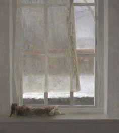 Les fenêtres de Jan van der Kooi. Autant de variations sur le blanc, le beige, le gris, le jaune ou le rose pâles, couleurs sœurs ou cousines dont le peintre exploite pourtant la différence. Même...