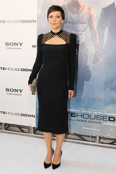 White House Down premiere, Washington – June 22 2013  Maggie Gyllenhaal in a dress from the Alexander McQueen autumn/winter 2013-14 collection and Casadei heels.