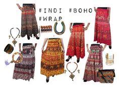 """""""#indi #boho #Wrapskirts"""" by era-chandok ❤ liked on Polyvore"""