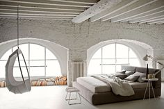 Bedroom: Spacious Bedroom With Industrial Style And White Brick Walls Also Gray Fabric Bed And White Hanging Egg Chair: Impressive Industrial Bedroom Decor Ideas Industrial Bedroom Design, Interior Architecture, Interior Design, Design Interiors, Loft Interiors, Interior Modern, White Brick Walls, White Bricks, White Beams