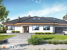 gotowy projekt Dom w alwach 5 Modern Bungalow House, Modern House Design, Morden House, Model House Plan, Cottage Plan, Amazing Buildings, Dream House Exterior, Bedroom House Plans, Pool Houses