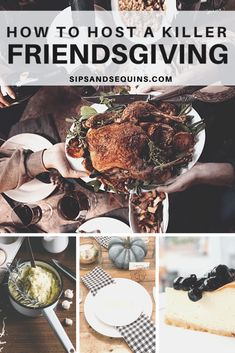 Everything you need to know to host a killer Friendsgiving, including recipes, an amazing playlist, and tablescape ideas! Fall Vignettes, Grubs, Thanksgiving Recipes, Tablescapes, Cheesecake, Medicine, Turkey, Party Ideas, Autumn