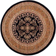 Lyndhurst Black/Tan 5 ft. 3 in. x 5 ft. 3 in. Round Area Rug