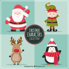 Navidad Caracteres Colección Vector Gratis
