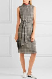 CefinnBelted Prince of Wales checked wool-blend  dress
