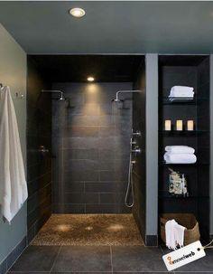 Similar shower head & stone tile, wall, etc LOOK, no door!