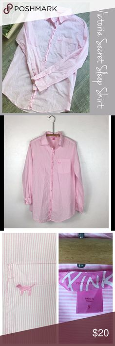 "Pink Victoria's Secret Sleep Shirt Victoria's Secret Striped Button up Sleep Shirt. Size Small. Preowned  Measurements  Bust 20"" Length 30"" Bundle in my Closet and Save. I ship same day or next day almost always. No Trades. Suggested User. PINK Victoria's Secret Intimates & Sleepwear Pajamas"