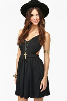 Crossed Chiffon Dress in Black