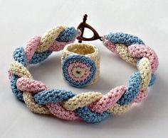 Handmade Fine Thread Crocheted Ring and I-cord bracelet - Spring Sweet Pea