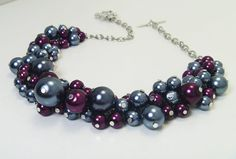 Gunmetal Burgandy Cluster Necklace Gray Pearl Necklace by Eienblue, $26.00