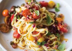 Puttanesca sauce over linguine with fried capers