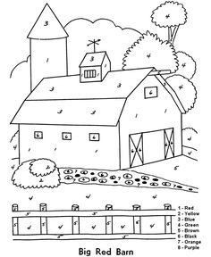 easy coloring beginner coloring pages for kids big red barn - Barns Coloring Pages Farm Silos