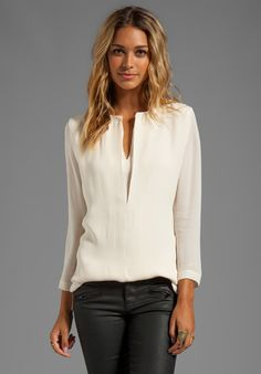 HALSTON HERITAGE Washed Silk Double Georgette Top, gray jeans