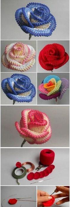rose au crochet – Marine La viny rose au crochet How to Crochet a Big Rose Crochet Motifs, Crochet Flower Patterns, Crochet Designs, Crochet Flowers, Crochet Stitches, Knitting Patterns, Crochet Butterfly, Crochet Stars, Crochet Ideas