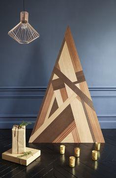 DIY: fabriquer un sapin de Noël en bois façon marqueterie