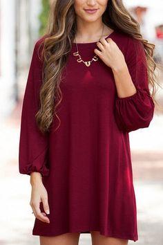 Burgundy Lantern Sleeves Mini Dress