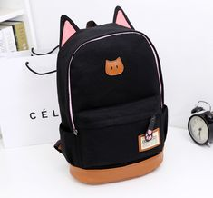 New canvas the cat ears fashion men and women backpack Korean version of the influx shoulder bag rucksack schoolbag Canvas Backpack, Backpack Bags, Fashion Backpack, School Bags For Girls, Cat People, Japanese Fashion, Fabric Material, Cat Ears, Dark Blue