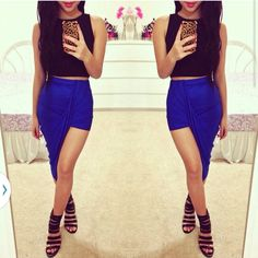 Sexy Wrap Banded Waist Draped Cut Out Asymmetrical Hi Low Skirt S M L BLUE on Luulla