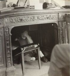Caroline under JFK's desk.