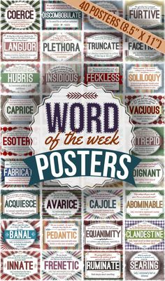 Help your students learn a new word a week with these 40 word posters (that's more than enough for the entire school year!)