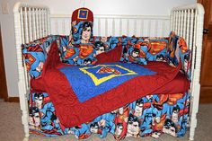 New Crib Nursery Beddng Set m& Superman Fabric Superman Nursery, Fleece Fabric, Cotton Fabric, Baby Crib Bedding, Crib Sets, A 17, Fabric Panels, Machine Quilting, Cribs