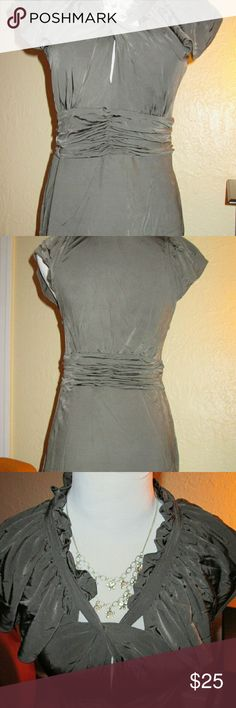 Lovely silky keyhole top by BCBG MAX AZRIA Very sexy keyhole top by BCBG, perfect for date night. Fitted, cap sleeves, flattering waistline gathers. Size M, fits tts. In like-new condition. The color is a subtle olive/gray hue that is pretty with any skin tone. BCBGMaxAzria Tops