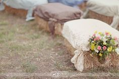 Hay bales with burlap and lace covers for ceremony @Cassy Thompson