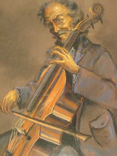 """cellist etching   Krige (SA 20th C) Pastel, """"The Cello Player"""", Signed, 80 x 54 4000 ..."""