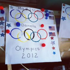 Introducing the olympics to our preschoolers by getting crafty with some team spirit flags. We used the rims of little plastic cups for the rings (they were just happy about using real paint). Afterwards they got to decorate it with stickers and pom poms. GO USA! #preschool #art #crafts #artsandcrafts