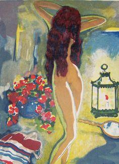 L'adolescente au Miroir - by: Kees van Dongen Dutch 1877-1968 Wood engraving , watercolourIllustration for Le Livre des mille nuits et une nuit van J.C. Madrus,